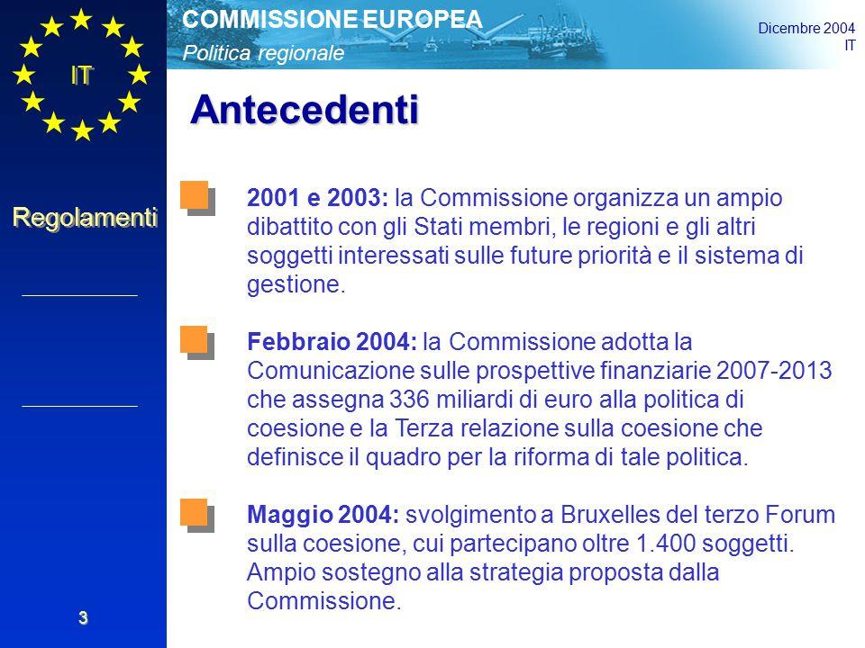 Politica regionale COMMISSIONE EUROPEA Dicembre 2004 IT Regolamenti 3 Antecedenti 2001 e 2003: la Commissione organizza un ampio dibattito con gli Stati membri, le regioni e gli altri soggetti interessati sulle future priorità e il sistema di gestione.