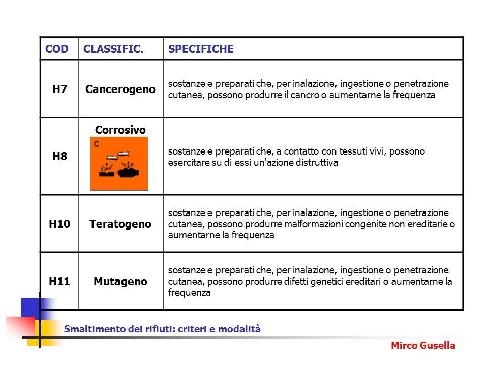 Smaltimento dei rifiuti: criteri e modalità Mirco Gusella CODCLASSIFIC.SPECIFICHE H7Cancerogeno sostanze e preparati che, per inalazione, ingestione o penetrazione cutanea, possono produrre il cancro o aumentarne la frequenza H8 Corrosivo sostanze e preparati che, a contatto con tessuti vivi, possono esercitare su di essi un azione distruttiva H10Teratogeno sostanze e preparati che, per inalazione, ingestione o penetrazione cutanea, possono produrre malformazioni congenite non ereditarie o aumentarne la frequenza H11Mutageno sostanze e preparati che, per inalazione, ingestione o penetrazione cutanea, possono produrre difetti genetici ereditari o aumentarne la frequenza