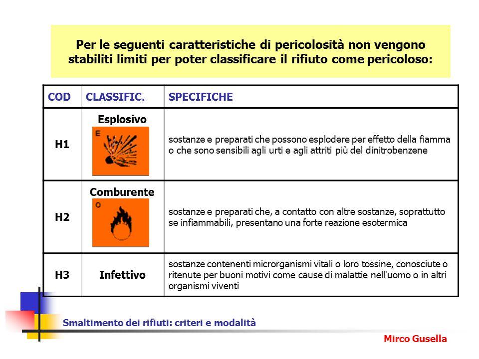 Smaltimento dei rifiuti: criteri e modalità Mirco Gusella CODCLASSIFIC.SPECIFICHE H1 Esplosivo sostanze e preparati che possono esplodere per effetto della fiamma o che sono sensibili agli urti e agli attriti più del dinitrobenzene H2 Comburente sostanze e preparati che, a contatto con altre sostanze, soprattutto se infiammabili, presentano una forte reazione esotermica H3Infettivo sostanze contenenti microrganismi vitali o loro tossine, conosciute o ritenute per buoni motivi come cause di malattie nell uomo o in altri organismi viventi Per le seguenti caratteristiche di pericolosità non vengono stabiliti limiti per poter classificare il rifiuto come pericoloso: