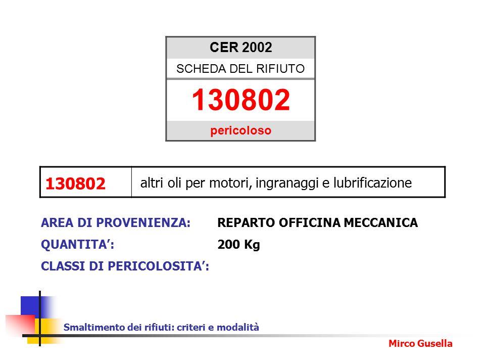 Smaltimento dei rifiuti: criteri e modalità Mirco Gusella CER 2002 SCHEDA DEL RIFIUTO 130802 pericoloso AREA DI PROVENIENZA:REPARTO OFFICINA MECCANICA QUANTITA': 200 Kg CLASSI DI PERICOLOSITA': 130802 altri oli per motori, ingranaggi e lubrificazione