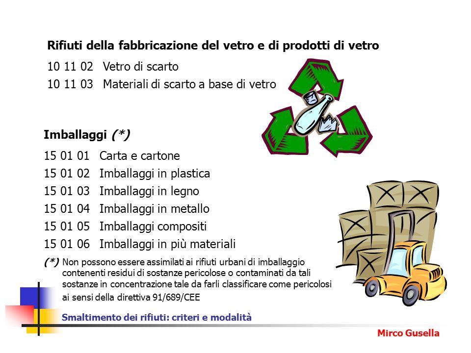 Smaltimento dei rifiuti: criteri e modalità Mirco Gusella Rifiuti della fabbricazione del vetro e di prodotti di vetro 10 11 02 Vetro di scarto 10 11 03 Materiali di scarto a base di vetro Imballaggi (*) 15 01 01 Carta e cartone 15 01 02 Imballaggi in plastica 15 01 03 Imballaggi in legno 15 01 04 Imballaggi in metallo 15 01 05Imballaggi compositi 15 01 06 Imballaggi in più materiali (*) Non possono essere assimilati ai rifiuti urbani di imballaggio contenenti residui di sostanze pericolose o contaminati da tali sostanze in concentrazione tale da farli classificare come pericolosi ai sensi della direttiva 91/689/CEE