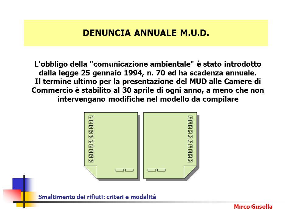 Smaltimento dei rifiuti: criteri e modalità Mirco Gusella DENUNCIA ANNUALE M.U.D.