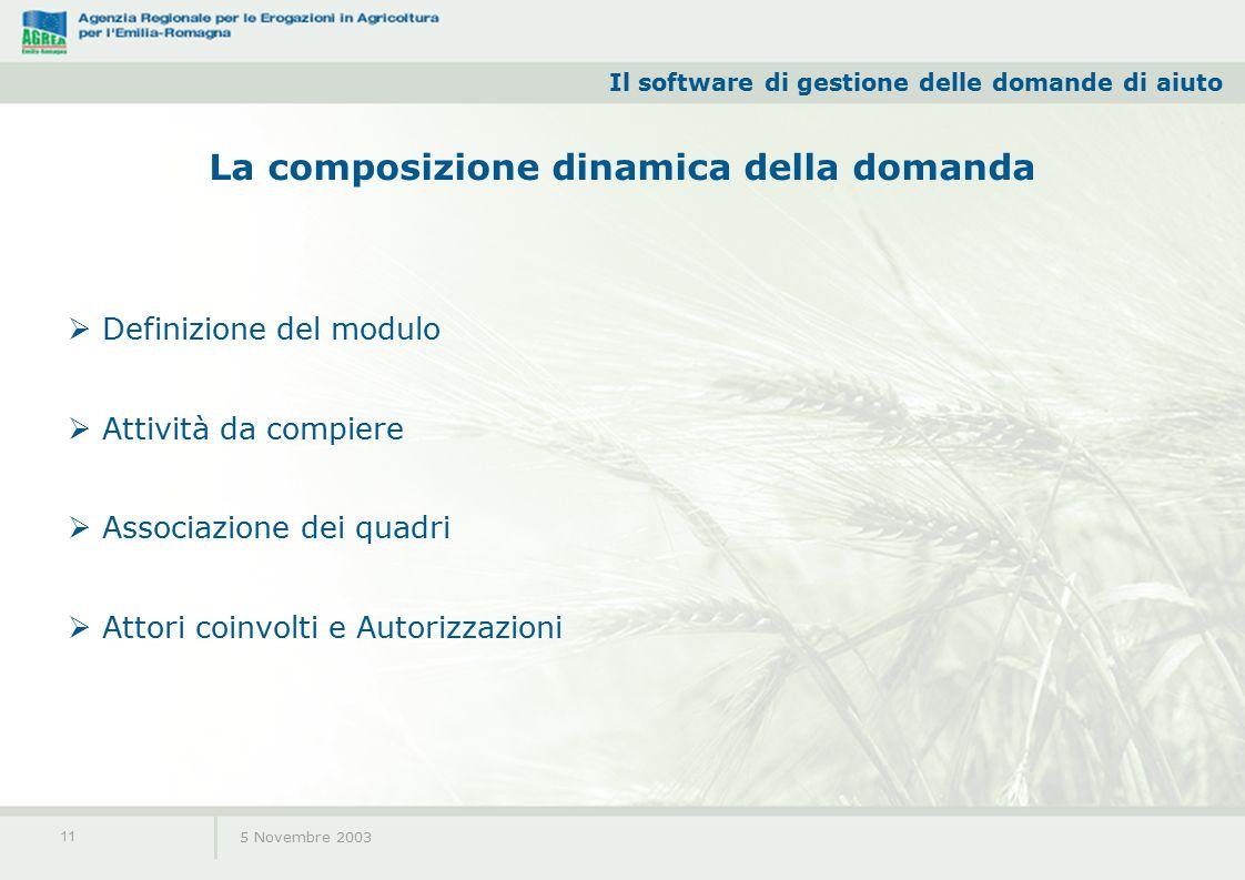 Il software di gestione delle domande di aiuto 5 Novembre 2003 11 La composizione dinamica della domanda  Definizione del modulo  Attività da compiere  Associazione dei quadri  Attori coinvolti e Autorizzazioni