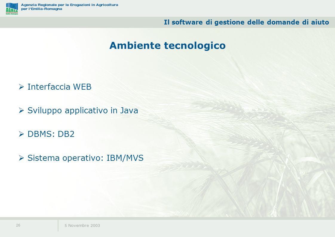 Il software di gestione delle domande di aiuto 5 Novembre 2003 26 Ambiente tecnologico  Interfaccia WEB  Sviluppo applicativo in Java  DBMS: DB2  Sistema operativo: IBM/MVS