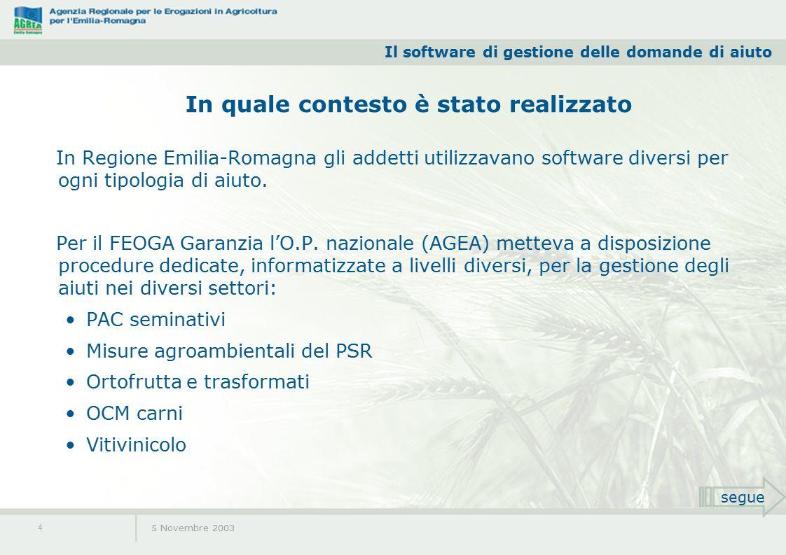 Il software di gestione delle domande di aiuto 5 Novembre 2003 4 In Regione Emilia-Romagna gli addetti utilizzavano software diversi per ogni tipologia di aiuto.