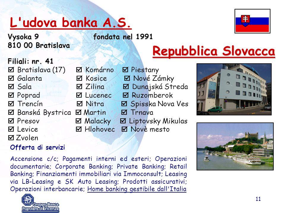 11 Repubblica Slovacca Vysoka 9fondata nel 1991 810 00 Bratislava Filiali: nr. 41  Bratislava (17)  Komárno  Piestany  Galanta  Kosice  Nové Zám