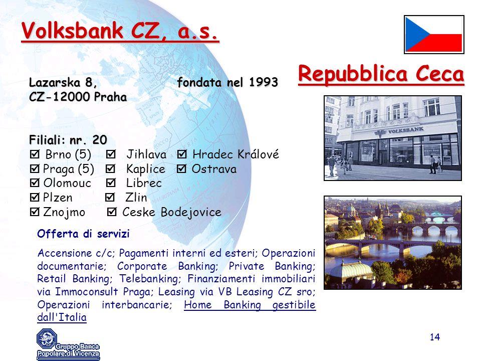 14 Volksbank CZ, a.s. Lazarska 8, fondata nel 1993 CZ-12000 Praha Filiali: nr. 20  Brno (5)  Jihlava  Hradec Králové  Praga (5)  Kaplice  Ostrav