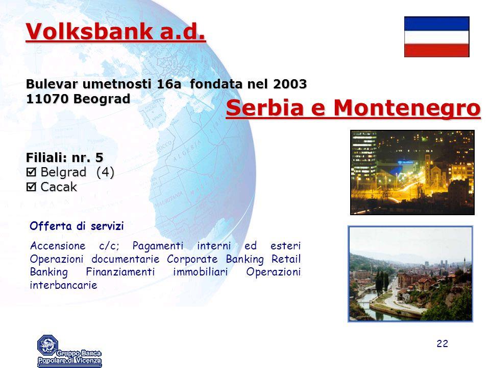 22 Volksbank a.d. Bulevar umetnosti 16a fondata nel 2003 11070 Beograd Filiali: nr. 5  Belgrad (4)  Cacak Offerta di servizi Accensione c/c; Pagamen