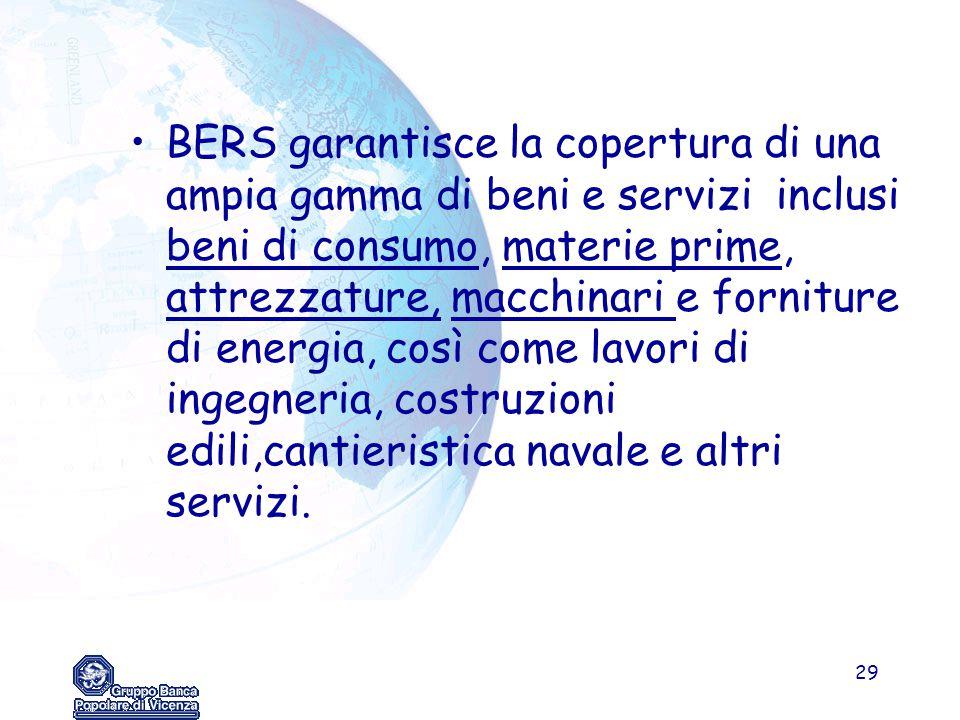 29 BERS garantisce la copertura di una ampia gamma di beni e servizi inclusi beni di consumo, materie prime, attrezzature, macchinari e forniture di e