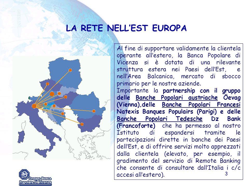 3 LA RETE NELL'EST EUROPA Al fine di supportare validamente la clientela operante all'estero, la Banca Popolare di Vicenza si è dotata di una rilevant