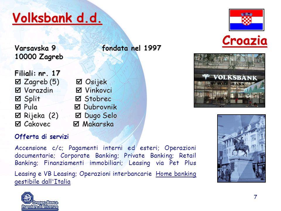 7 Volksbank d.d. Varsavska 9 fondata nel 1997 10000 Zagreb Filiali: nr. 17  Zagreb (5)  Osijek  Varazdin  Vinkovci  Split  Stobrec  Pula  Dubr