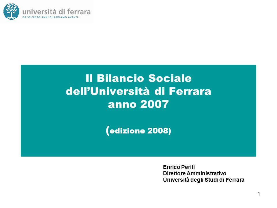 1 Il Bilancio Sociale dell'Università di Ferrara anno 2007 ( edizione 2008) Enrico Periti Direttore Amministrativo Università degli Studi di Ferrara