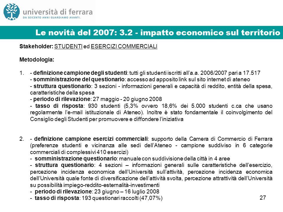 27 Stakeholder: STUDENTI ed ESERCIZI COMMERCIALI Metodologia: 1.- definizione campione degli studenti: tutti gli studenti iscritti all'a.a.