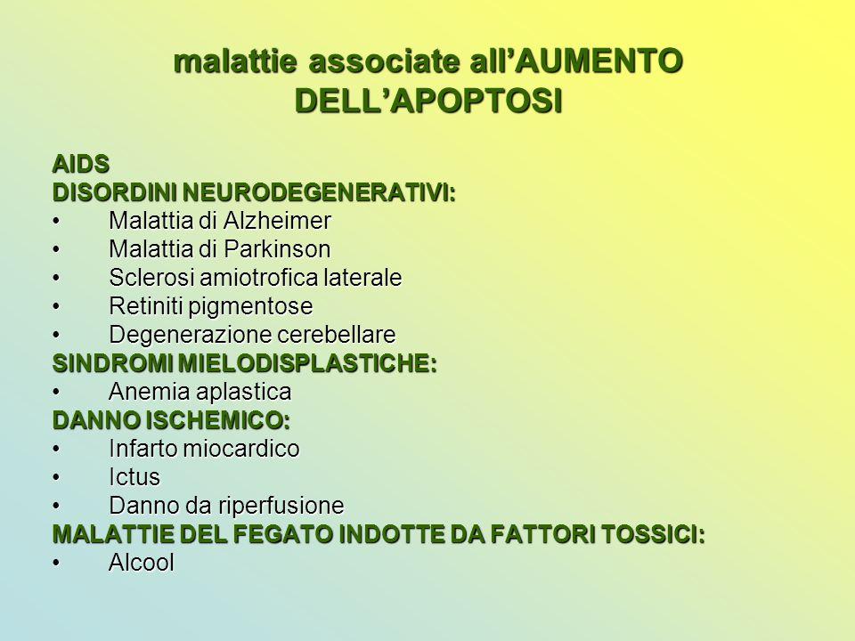 malattie associate all'AUMENTO DELL'APOPTOSI AIDS DISORDINI NEURODEGENERATIVI: Malattia di AlzheimerMalattia di Alzheimer Malattia di ParkinsonMalatti