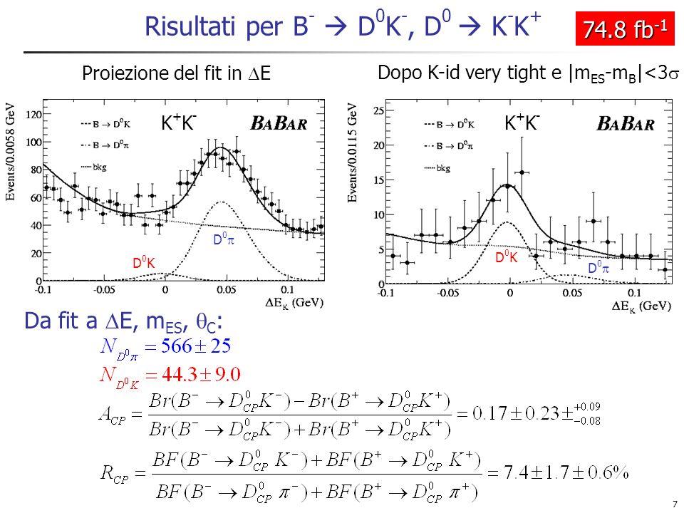 7 Risultati per B -  D 0 K -, D 0  K - K + Proiezione del fit in  E Dopo K-id very tight e |m ES -m B |<3  K+K-K+K- D0D0 D0KD0K D0D0 D0KD0K K+K-K+K- 74.8 fb -1 Da fit a  E, m ES,  C :