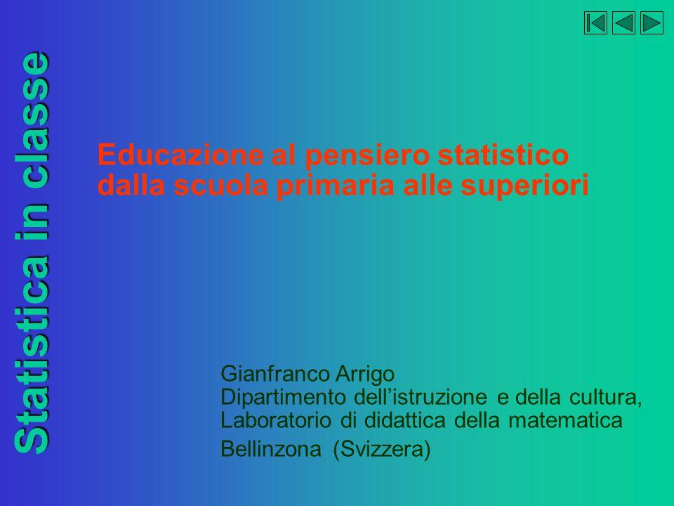 Educazione al pensiero statistico dalla scuola primaria alle superiori Statistica in classe Gianfranco Arrigo Dipartimento dell'istruzione e della cultura, Laboratorio di didattica della matematica Bellinzona (Svizzera)