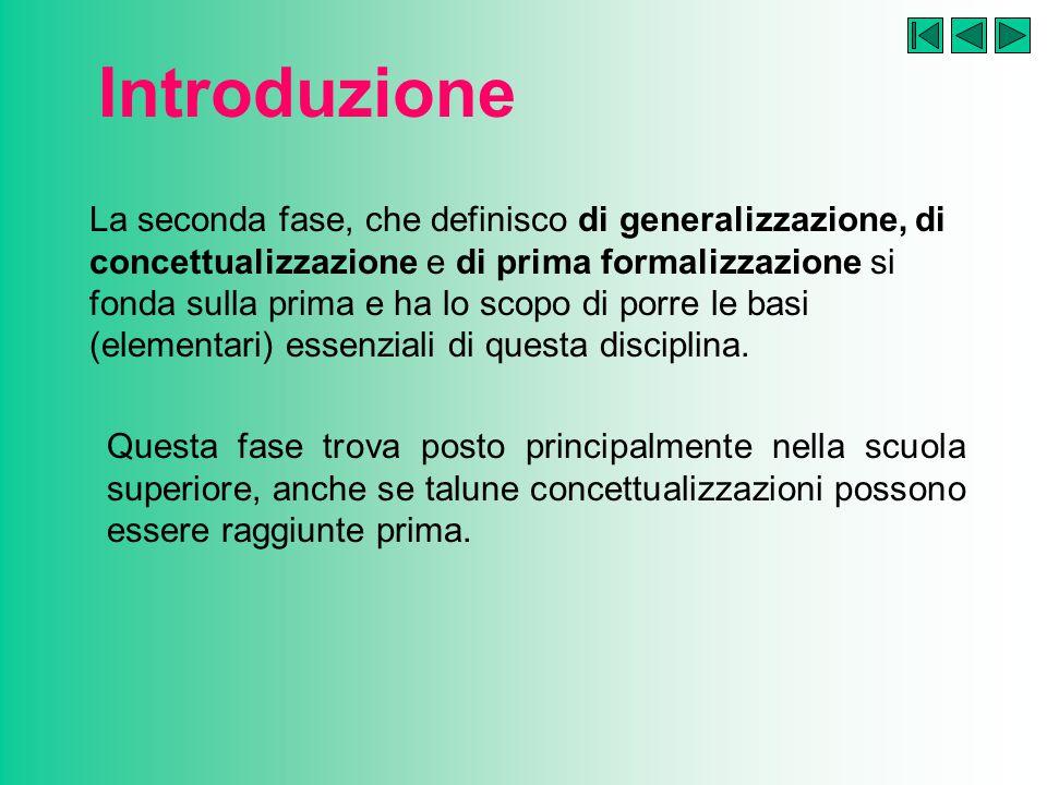 Introduzione La seconda fase, che definisco di generalizzazione, di concettualizzazione e di prima formalizzazione si fonda sulla prima e ha lo scopo di porre le basi (elementari) essenziali di questa disciplina.