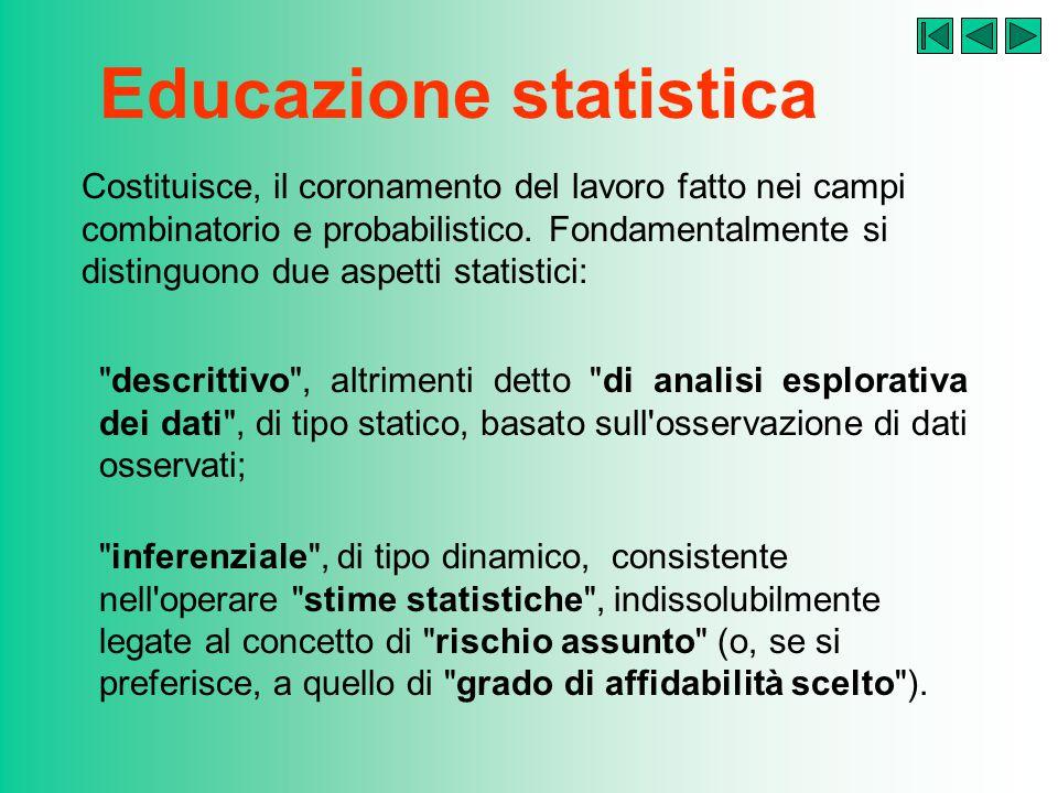 Educazione statistica Costituisce, il coronamento del lavoro fatto nei campi combinatorio e probabilistico.