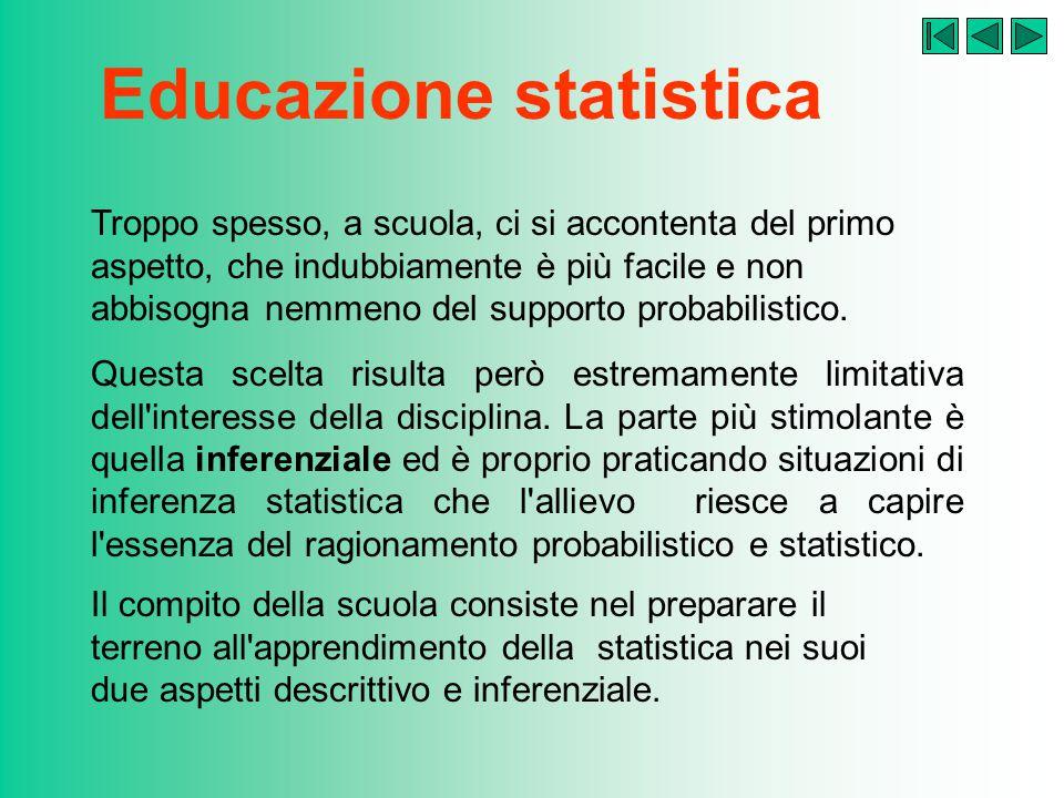 Educazione statistica Troppo spesso, a scuola, ci si accontenta del primo aspetto, che indubbiamente è più facile e non abbisogna nemmeno del supporto probabilistico.