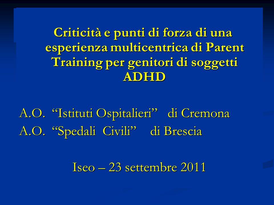 Percezione di efficacia del PT e ADHD in comorbidità Maggiore efficacia per bambini solo ADHD oppure ADHD+ DSA/DOP Maggiore efficacia per bambini solo ADHD oppure ADHD+ DSA/DOP Minore efficacia per bambini ADHD+ altre comorbidità (es.