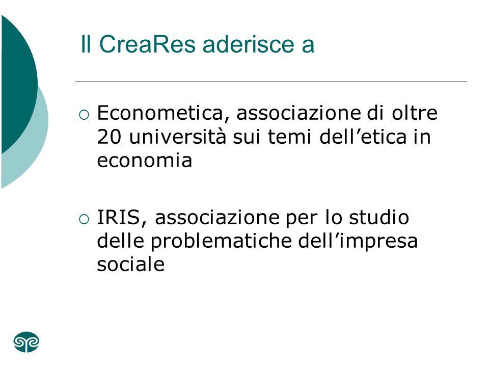 Il CreaRes aderisce a  Econometica, associazione di oltre 20 università sui temi dell'etica in economia  IRIS, associazione per lo studio delle problematiche dell'impresa sociale
