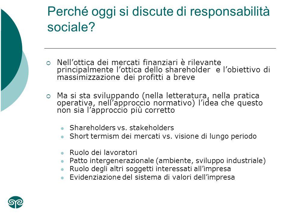 Perché oggi si discute di responsabilità sociale.
