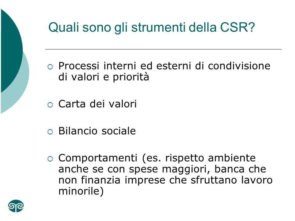 Quali sono gli strumenti della CSR.