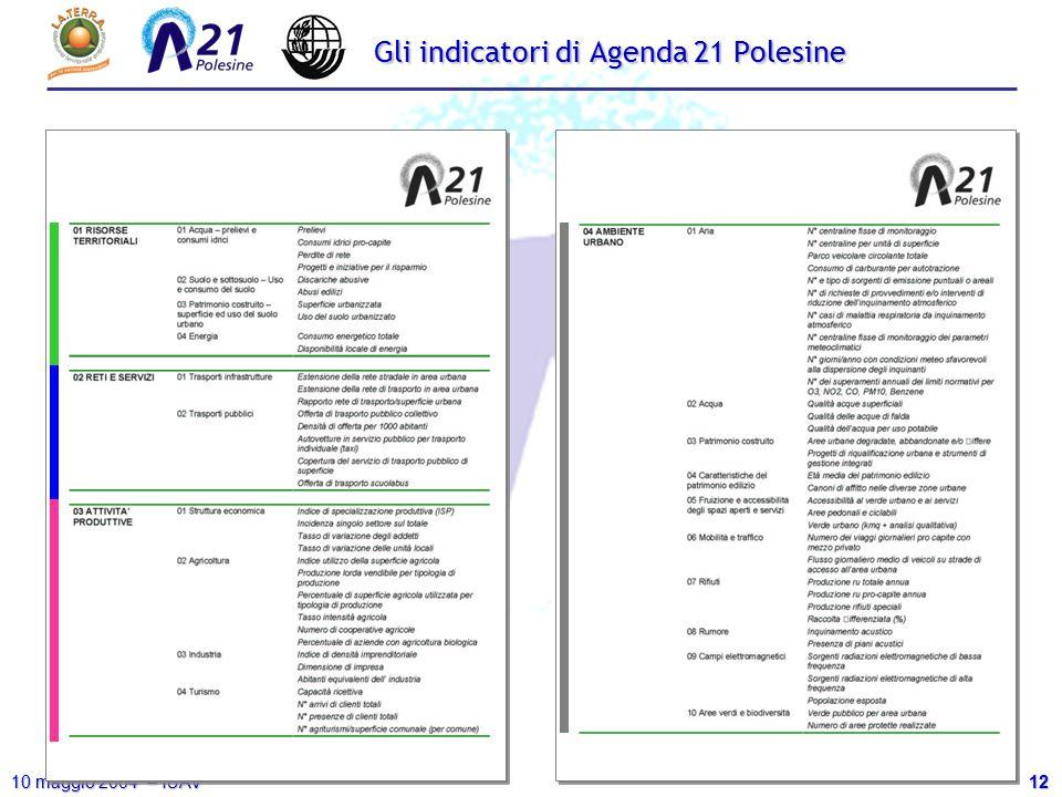 12 10 maggio 2004 – IUAV Gli indicatori di Agenda 21 Polesine