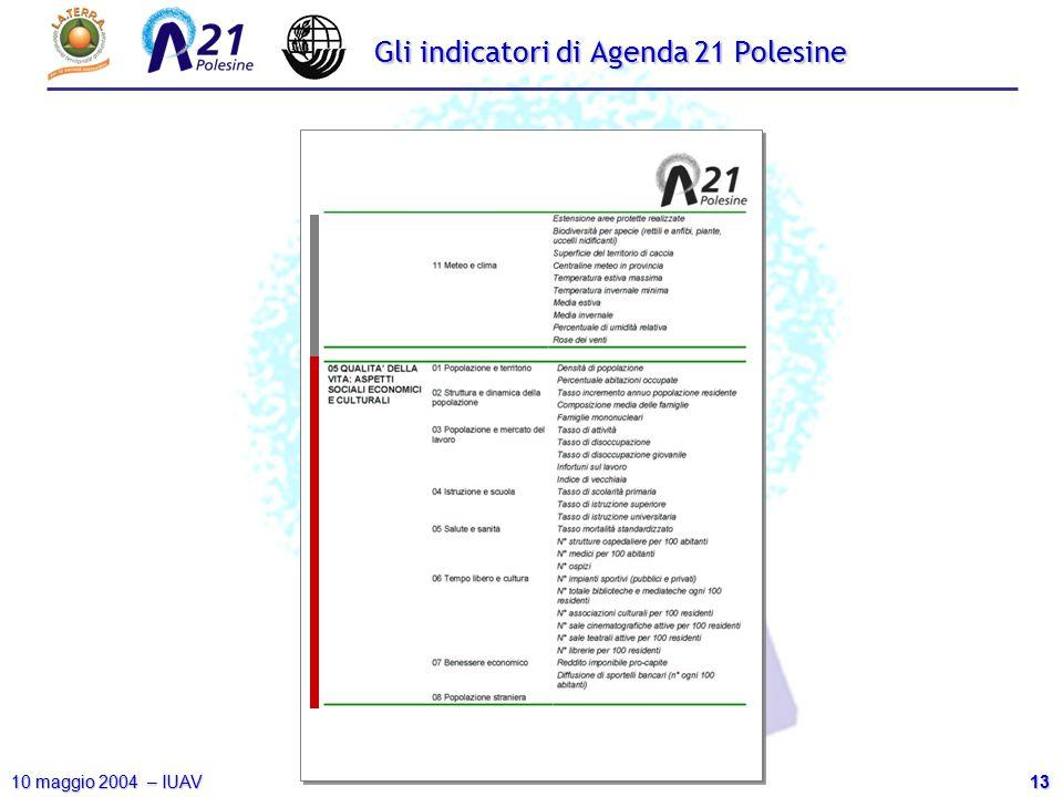 13 10 maggio 2004 – IUAV Gli indicatori di Agenda 21 Polesine