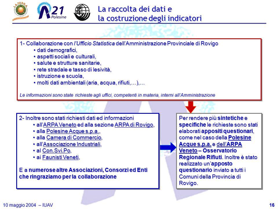 16 10 maggio 2004 – IUAV Per rendere più sintetiche e specifiche le richieste sono stati elaborati appositi questionari, come nel caso della Polesine