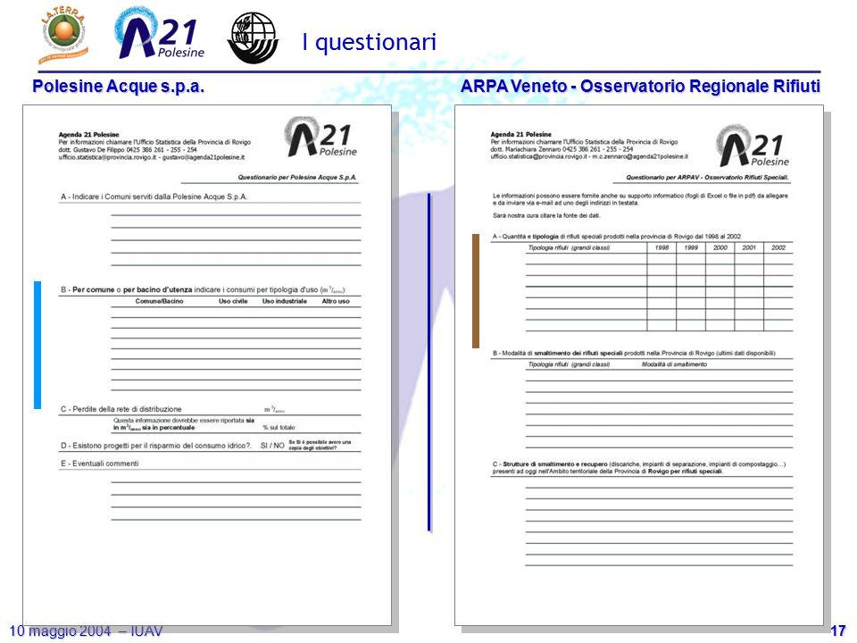 17 10 maggio 2004 – IUAV Polesine Acque s.p.a. ARPA Veneto - Osservatorio Regionale Rifiuti I questionari