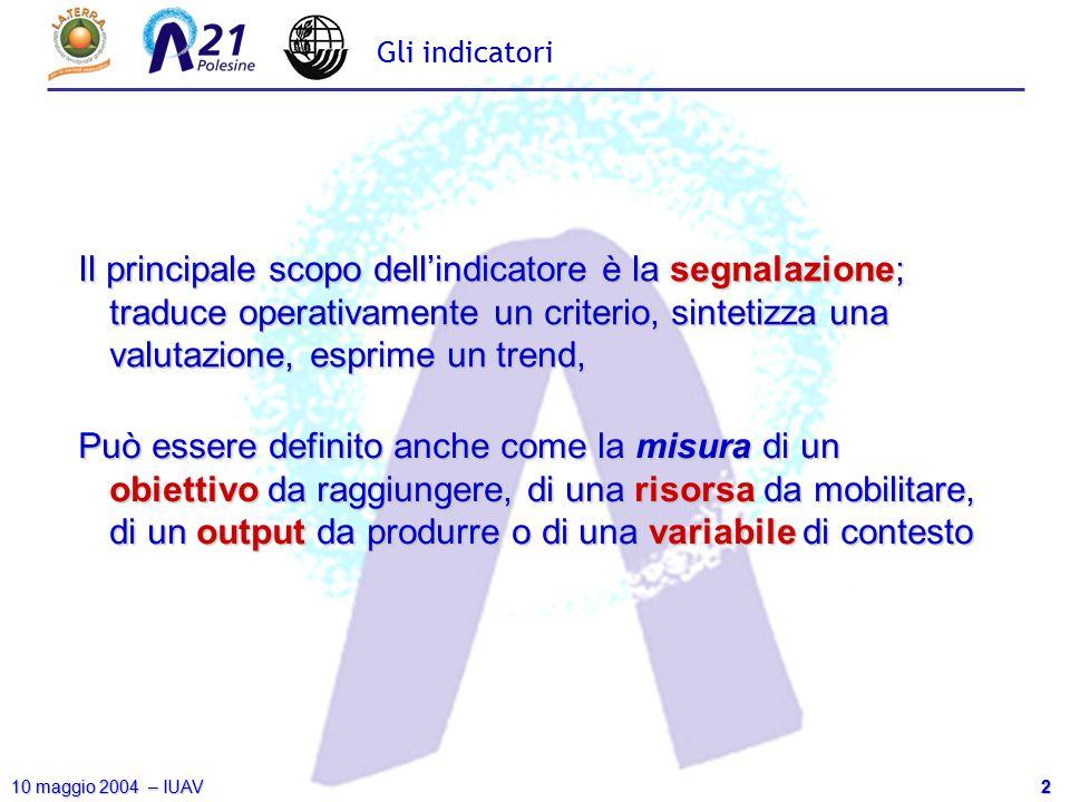 2 10 maggio 2004 – IUAV Gli indicatori Il principale scopo dell'indicatore è la segnalazione; traduce operativamente un criterio, sintetizza una valut