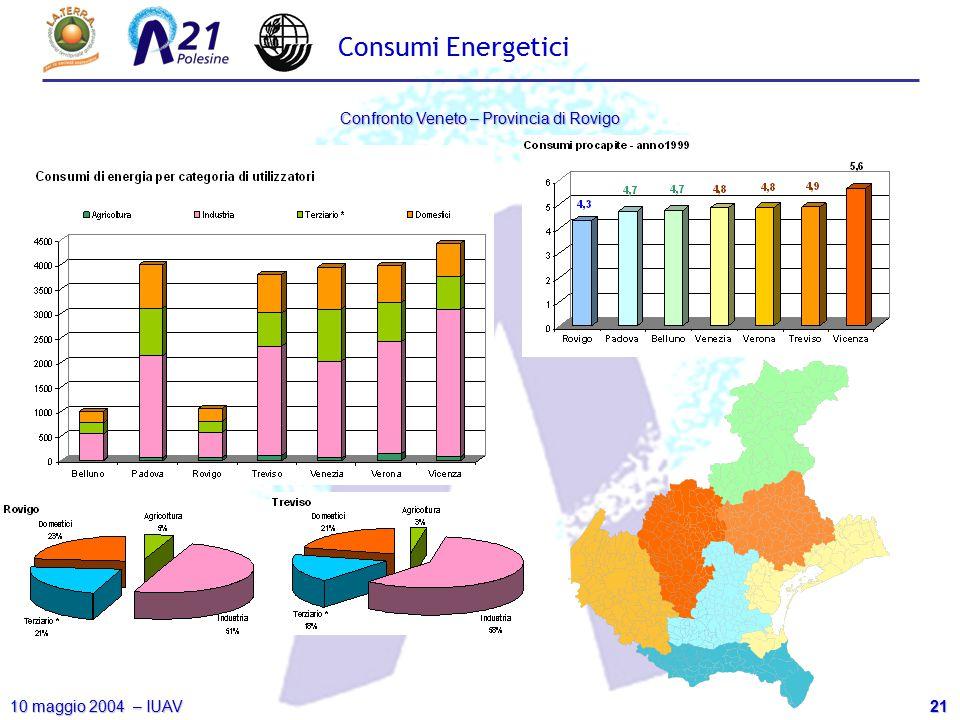 21 10 maggio 2004 – IUAV Confronto Veneto – Provincia di Rovigo Consumi Energetici