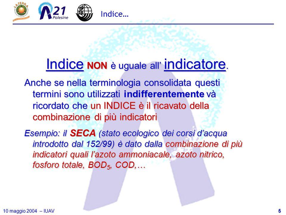 5 10 maggio 2004 – IUAV Indice… Indice NON è uguale all' indicatore. Anche se nella terminologia consolidata questi termini sono utilizzati indifferen
