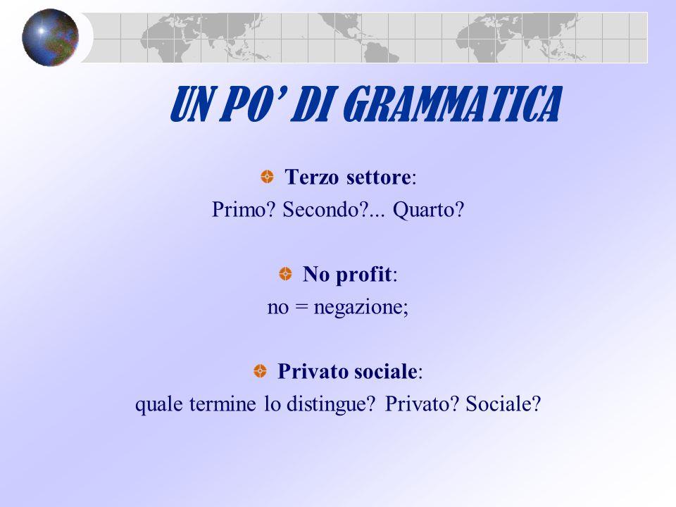 UN PO' DI GRAMMATICA Terzo settore: Primo? Secondo?... Quarto? No profit: no = negazione; Privato sociale: quale termine lo distingue? Privato? Social