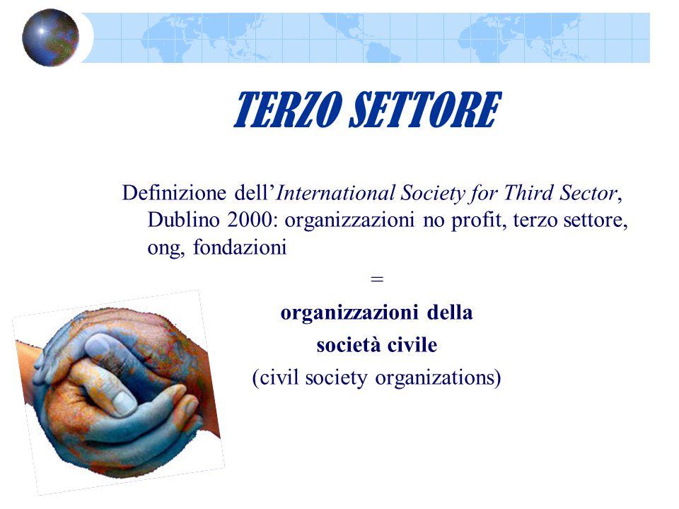 TERZO SETTORE Definizione dell'International Society for Third Sector, Dublino 2000: organizzazioni no profit, terzo settore, ong, fondazioni = organi