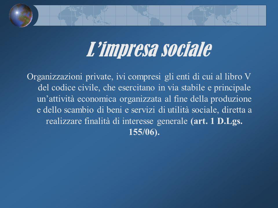 L'impresa sociale Organizzazioni private, ivi compresi gli enti di cui al libro V del codice civile, che esercitano in via stabile e principale un'att