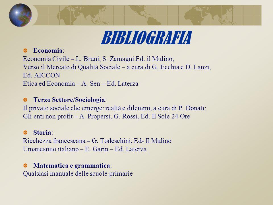 BIBLIOGRAFIA Economia: Economia Civile – L. Bruni, S. Zamagni Ed. il Mulino; Verso il Mercato di Qualità Sociale – a cura di G. Ecchia e D. Lanzi, Ed.