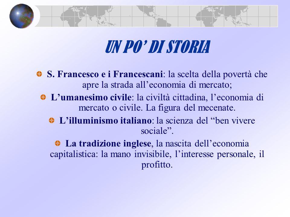 UN PO' DI STORIA S. Francesco e i Francescani: la scelta della povertà che apre la strada all'economia di mercato; L'umanesimo civile: la civiltà citt