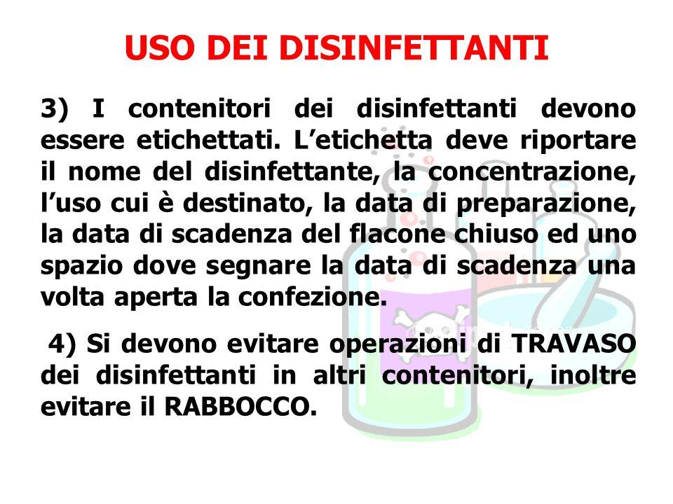 USO DEI DISINFETTANTI 3) I contenitori dei disinfettanti devono essere etichettati. L'etichetta deve riportare il nome del disinfettante, la concentra