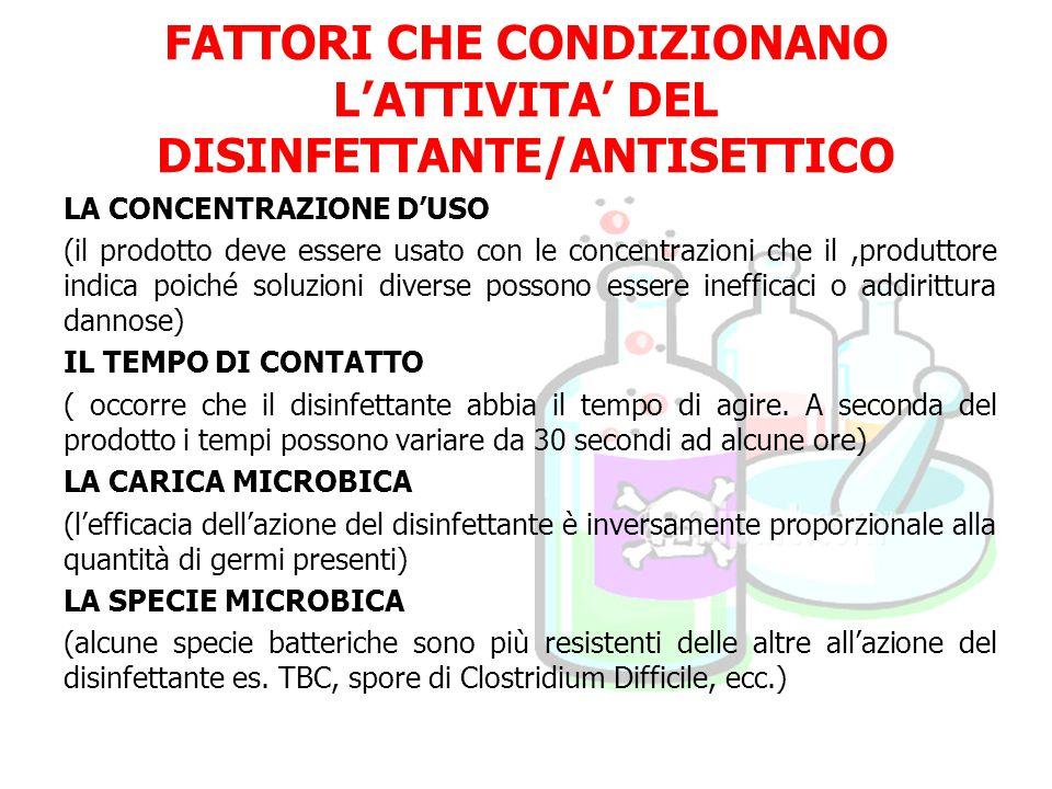 FATTORI CHE CONDIZIONANO L'ATTIVITA' DEL DISINFETTANTE/ANTISETTICO LA CONCENTRAZIONE D'USO (il prodotto deve essere usato con le concentrazioni che il