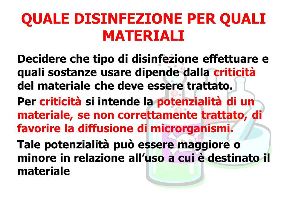QUALE DISINFEZIONE PER QUALI MATERIALI Decidere che tipo di disinfezione effettuare e quali sostanze usare dipende dalla criticità del materiale che deve essere trattato.