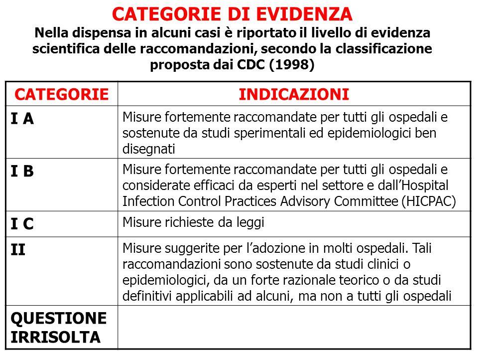CATEGORIE DI EVIDENZA Nella dispensa in alcuni casi è riportato il livello di evidenza scientifica delle raccomandazioni, secondo la classificazione p