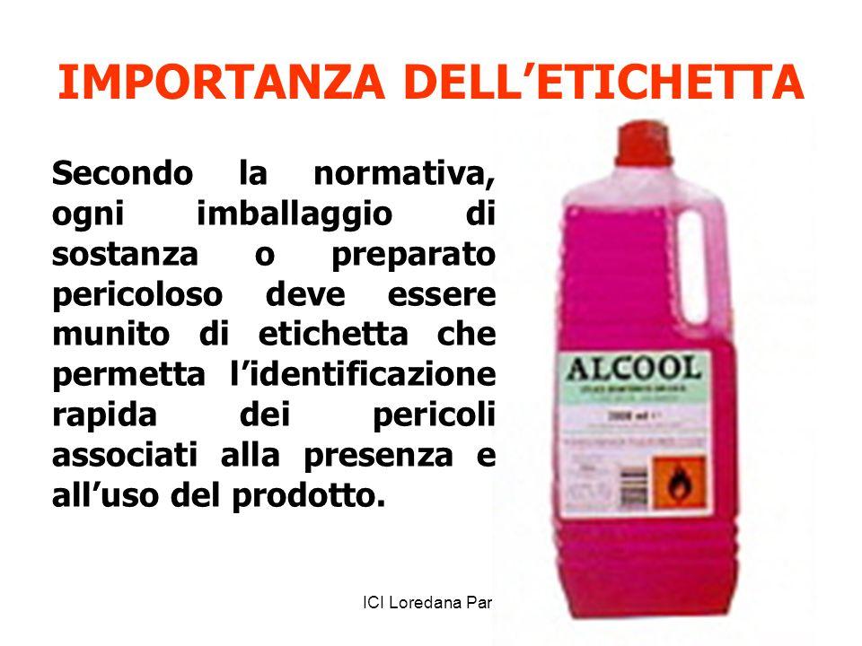 ICI Loredana Pani IMPORTANZA DELL'ETICHETTA Secondo la normativa, ogni imballaggio di sostanza o preparato pericoloso deve essere munito di etichetta