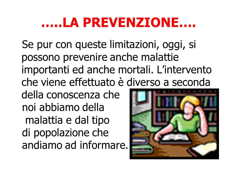 Se pur con queste limitazioni, oggi, si possono prevenire anche malattie importanti ed anche mortali.