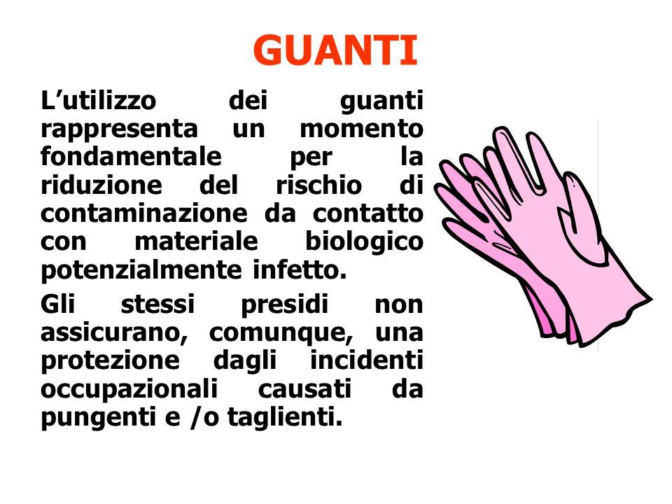 GUANTI L'utilizzo dei guanti rappresenta un momento fondamentale per la riduzione del rischio di contaminazione da contatto con materiale biologico potenzialmente infetto.