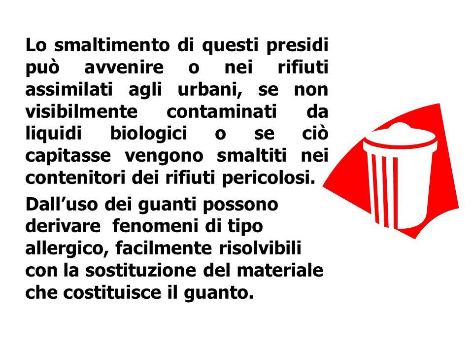 Lo smaltimento di questi presidi può avvenire o nei rifiuti assimilati agli urbani, se non visibilmente contaminati da liquidi biologici o se ciò capi