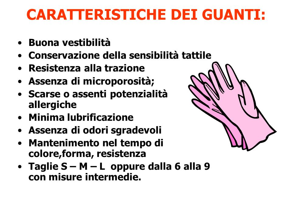 CARATTERISTICHE DEI GUANTI: Buona vestibilità Conservazione della sensibilità tattile Resistenza alla trazione Assenza di microporosità; Scarse o asse