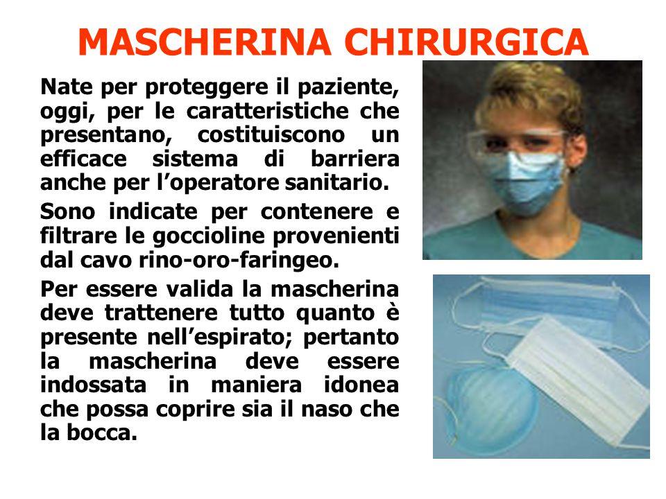 MASCHERINA CHIRURGICA Nate per proteggere il paziente, oggi, per le caratteristiche che presentano, costituiscono un efficace sistema di barriera anch