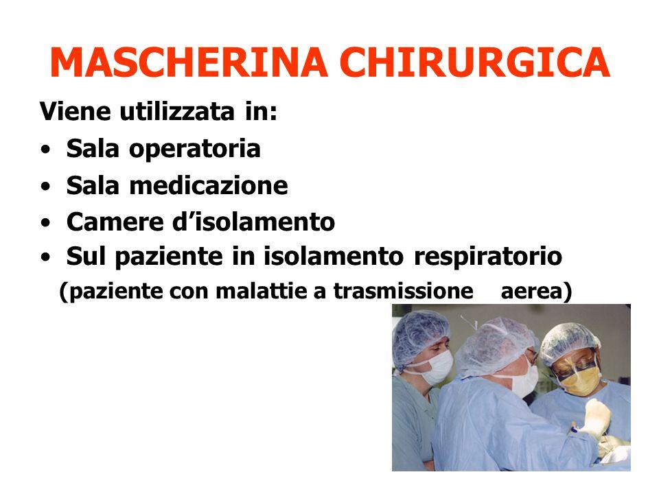 MASCHERINA CHIRURGICA Viene utilizzata in: Sala operatoria Sala medicazione Camere d'isolamento Sul paziente in isolamento respiratorio (paziente con